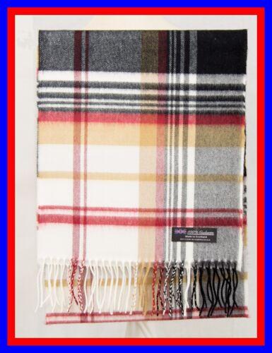 100/% Cashmere Scarf Cream Camel Check Plaid Scottish Ghram Nova Wool Unisex ZJSF