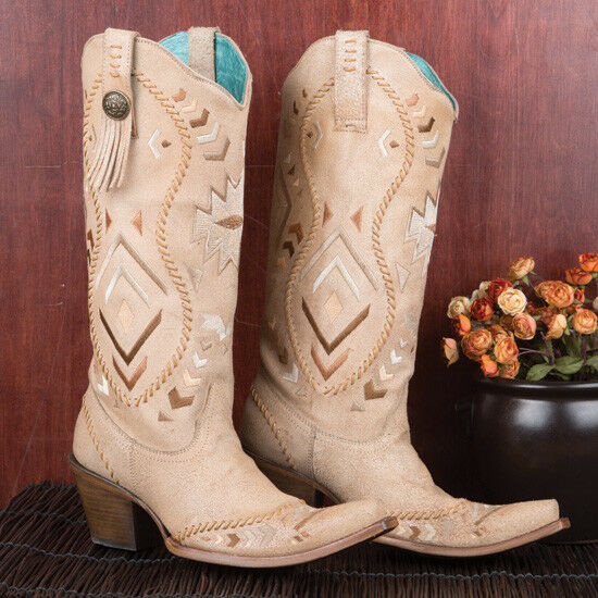 Man/Woman Corral Ladies' Bone Aztec Boots Beautiful color real King of the crowd