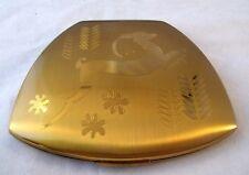 Vintage Elgin American Art Deco Mirror Compact Gold Leaping Deer in Original Box