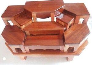 9 mini Altar wood Tables worship Thai Buddha Buddhist Amulet Hallow ...
