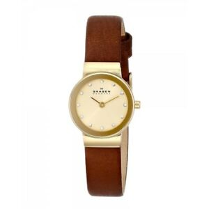 Skagen-Authentic-Watch-SKW2175-Freja-Gold-Leather-22mm-Women-039-s