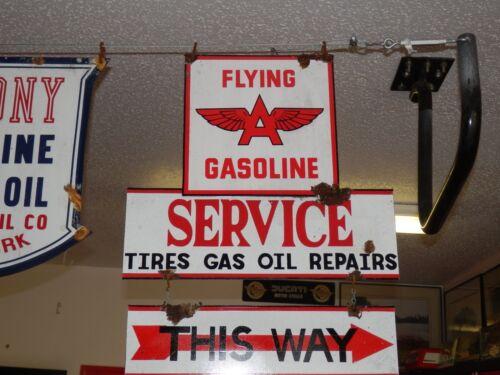 Old antique style Flying A dealer service garage gas pump 2 piece sign set