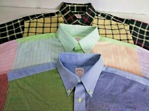 Brooks-Brothers-Mens-Patchwork-Long-Sleeve-Button-Down-Shirt-Lot-of-3-Size-Large