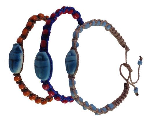 """3 pcs Pharaon Égyptien Costume perles scarabée 12/"""" BRACELET MANCHETTE BIJOUX 108"""