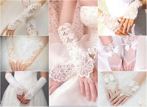 Brauthandschuhe-fingerlos-Braut-Handschuhe-Strass-Perlen-Hochzeit-Elfenbein-Weiss