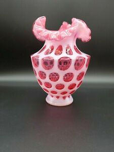 VINTAGE-ESTATE-FENTON-CRANBERRY-PINK-CRIMPED-OPALESCENT-COIN-DOT-VASE-7-5-INCHES