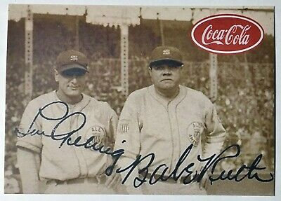 BABE RUTH and LOU GEHRIG FREE SHIPPING NEW YORK YANKEES 1933 COCA COLA