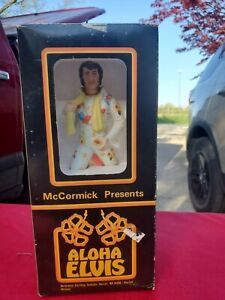 Vintage Elvis Presley McCormick Whiskey Decanter Music Box Aloha Elvis