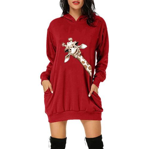 Women Giraffe Printed Hoodie Jumper Mini Dress Sweatshirt Hooded Pullover Top