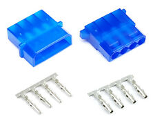 Blue Male & Female 4 Pin Molex Connector With Pins for PC Computer Power Supply