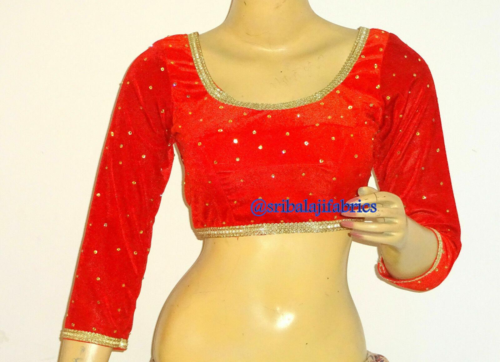 Designer Saree Blouse,Readymade Sari Blouse,Velvet Party Wear 3/4 Sleeves Blouse