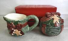 VTG 1994 The Cellar- O'Tannenbaum Ceramic Christmas Tree Creamer & Sugar Set