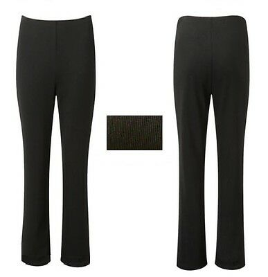 NEW LADIES PACK OF 2 BOOTLEG STRETCH FINELLY RIBBED TROUSERS BLACK SIZE 10-24