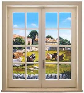 Sticker trompe l 39 oeil adesivo finestra su paesaggio di campagna con case ebay - Trompe l oeil finestra ...