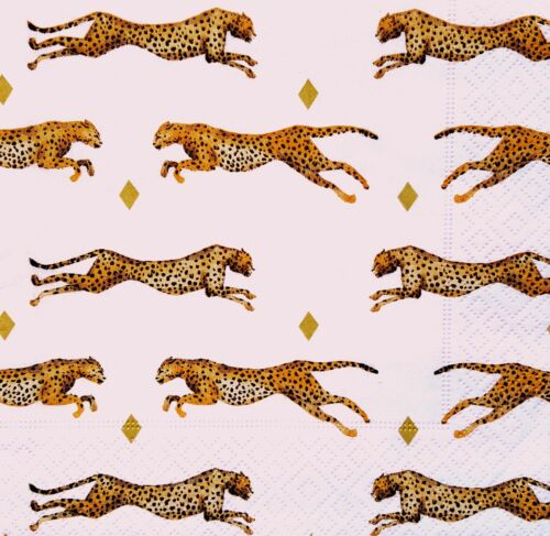 4 Lunch Paper des nappes Decoupage Craft Vintage Fête Napkin Leopard