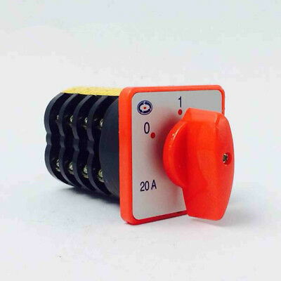 0-1 on//off 380V 20A 4KW 8 Terminals 1PCS Rotary Changeover Switch 2 Positions