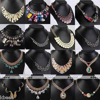 Boho Crystal Rhinestone Gems Beads Choker Bib Statement Necklace Pendant Jewelry