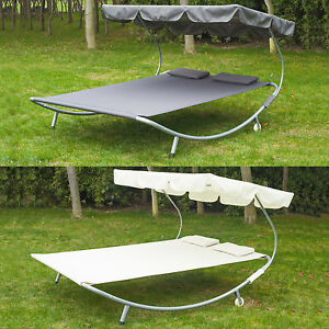 79-034-x-68-034-Double-Hammock-Bed-Chaise-Lounge-Relaxing-with-Metal-Frame-and-Headres