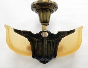 Vtg Rare Art Deco Electrolier 2 Slip Shade Fixture AMAZING CONDITION 1930's