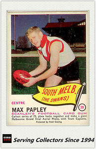 RARE FIND-1966 VFL Scanlens Card #39 Max Papley (South Melb)-EXCELLENT