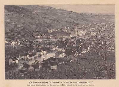 Überschwemmung Neustadt An Der Hardt 1882 Holzstich Von 1883 Weinstraße Ein Bereicherung Und Ein NäHrstoff FüR Die Leber Und Die Niere