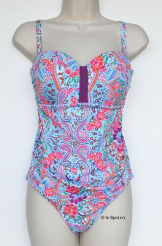 NEXT Pink Mix Floral Bandeau//Strappy Swimming Costume Swimsuit Size 14 BNWT