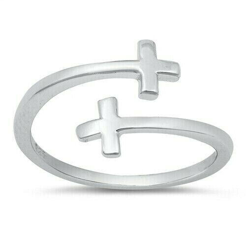 Crosses Toe Ring Genuine Sterling Silver 925 Face Height 8 mm High Polish