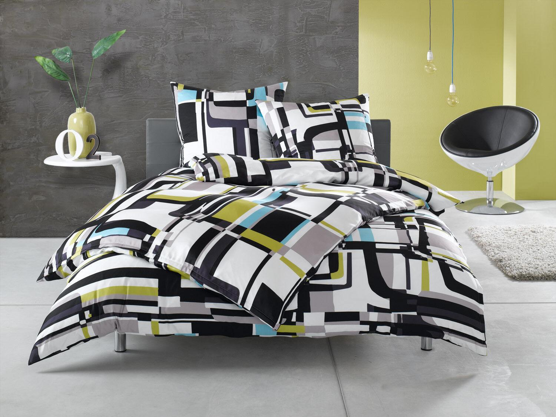 Moderne Mako Satin Grafik Bettwäsche schwarz weiß bunt 100% Baumwolle | Der neueste Stil