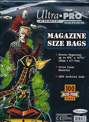 100 Ultra Pro Magazine Storage Bags Acid Free Archival Safe Protection Sleeves