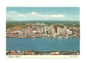 DETROIT-MI-Aerial-Across-River-From-Windsor-Postcard