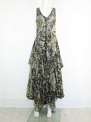 STUNNING WOMENS ALL SAINTS KATANA SILK MAXI DRESS PARACHUTE HITCH LONG GREEN 10 | eBay