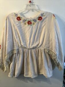 Cat-And-Jack-Top-Boho-Cream-10-12-Floral-With-Tassels