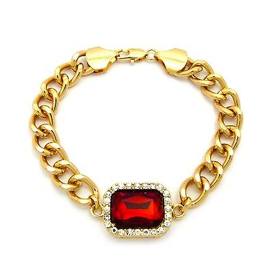 MENS ICED OUT HIP HOP MIAMI CUBAN LINK RED RUBY CHAIN BRACELET GOLD OR SILVER