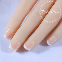 Short French Manicure Full Cover Beige White Press On 24 Nail Tips