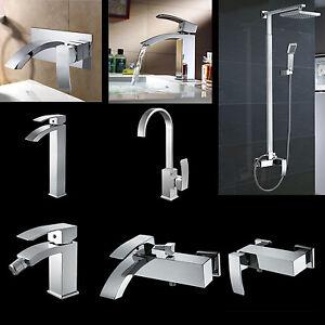 Lux-aqua Badarmaturen Bad Armatur der Design Serie CA in verchromt ... | {Badarmaturen eckig 35}