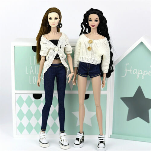2pcs Fashion Jeans Bottoms Trousers Pants For 1//6 Doll Trousers