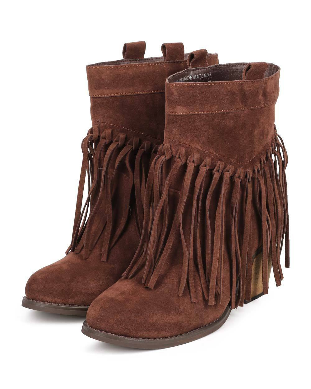 New Women Bumper Ranch-01 Suede Almond Toe Knotted Fringe Pull On Ankle Bootie