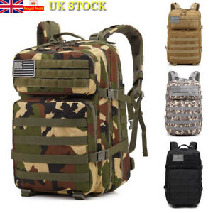 4085b3a5b5c1 Image is loading 45L-Waterproof-Tactical-Military-Army-Backpack-Rucksack- Camping-