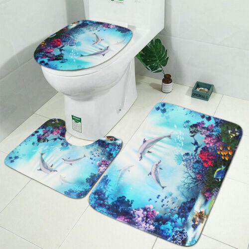 Dolphin Printing Bathroom Bath Shower Curtain Toilet Cover Mat Non-Slip Rug