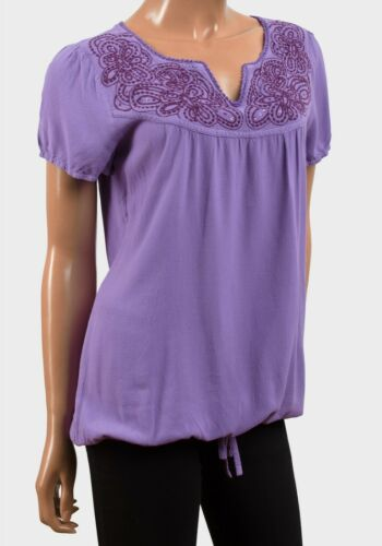 womens size 8 lilac purple short sleeve embroidered hip length summer blouse//top