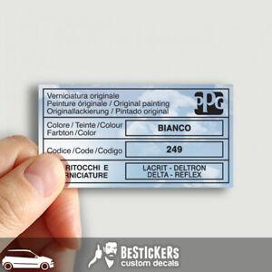 Adesivo etichetta vernice PPG - Fiat Punto GT mk1 176 BIANCO 249 restauro