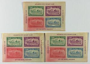 VTG American Philatelic Society Convention Sheets Atlantic City Stamp Club 1934