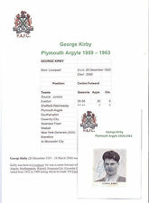 GEORGE KIRBY PLYMOUTH ARGYLE 1959-1963 RARE ORIGINAL HAND SIGNED PICTURE/CUTTING