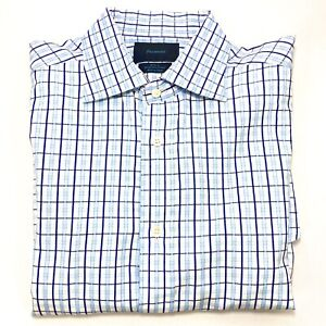 Facconable-L-S-French-Cuff-Button-Down-Shirt-Blue-White-Plaid-Mens-Size-16-5-L