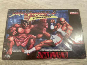 Plaque métal décorative rétro vintage Street fighter 2 turbo super nintendo snes