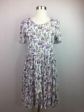 Vintage Ordinary Mary White Purple Floral Button Down Babydoll Dress Size Small