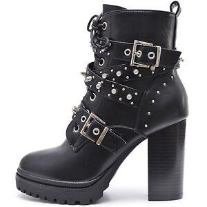 Damen Stiefeletten Plateau Ankle Boots High Heels Profil Sohle hoher Absatz
