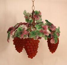 Large Antique 1920s Art Glass Murano Chandelier Ceiling Fixture Grape Clusters