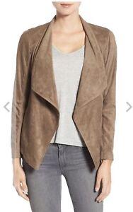 BB-Dakota-Women-039-s-Nicholson-Faux-Suede-Drape-Front-Jacket-Size-S-Mocha