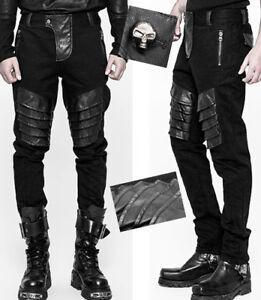 1ba7e09ffcd8fe Das Bild wird geladen Jeans-Hose-Gothic-Punk-Steampunk-Leder-Ruestung-Zip-